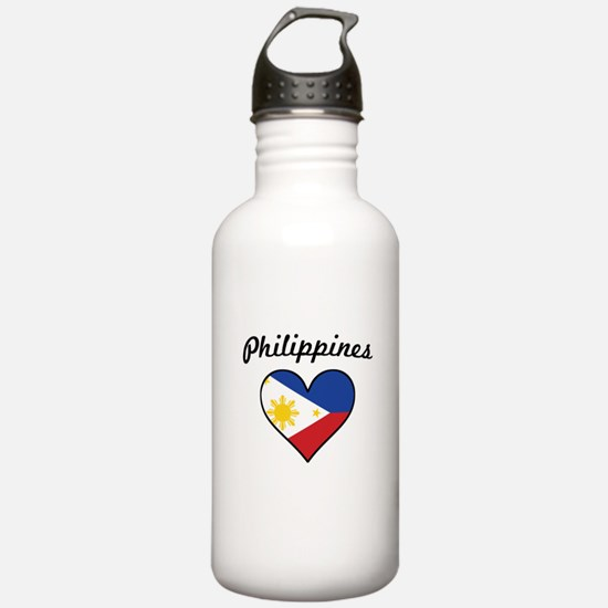 Philippines Flag Heart Water Bottle