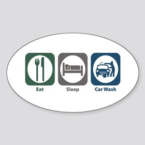 Eat Sleep Car Wash Oval Sticker