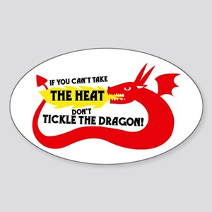Don't Tickle the Dragon Oval Sticker