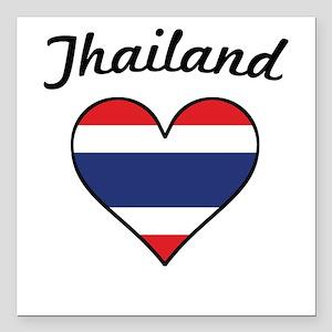 """Thailand Flag Heart Square Car Magnet 3"""" x 3"""""""