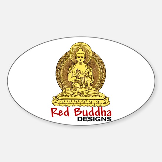 Classic Red Buddha Logo Oval Decal