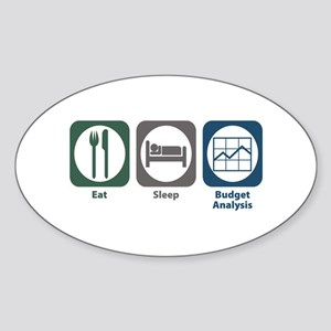 Eat Sleep Budget Analysis Oval Sticker