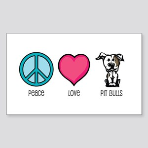 Peace Love & Pit Bulls Rectangle Sticker