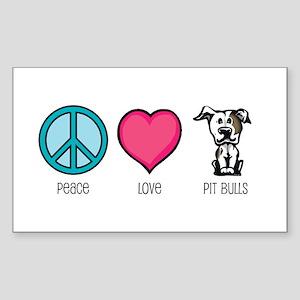 Peace Love & Pit Bulls Rectangle Sticker