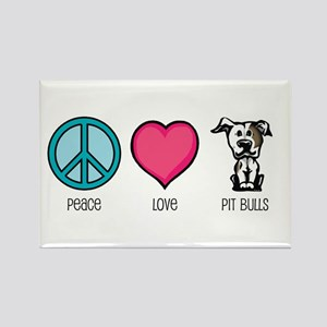 Peace Love & Pit Bulls Rectangle Magnet