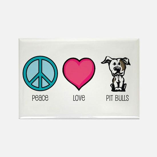 Peace Love & Pit Bulls Rectangle Magnet