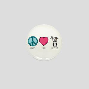 Peace Love & Pit Bulls Mini Button
