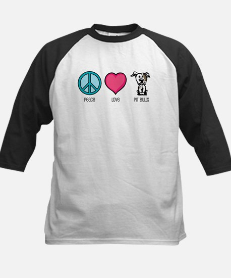 Peace Love & Pit Bulls Kids Baseball Jersey