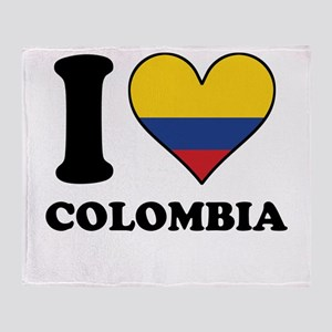I Love Colombia Colombian Flag Heart Throw Blanket