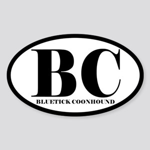 BC Abbreviation Bluetick Coonhound Oval Sticker