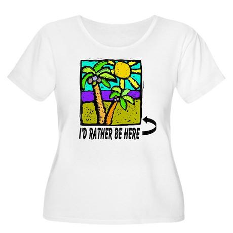 Beach Vacation Women's Plus Size Scoop Neck T-Shir
