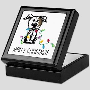 Pit Bull Christmas Lights Keepsake Box