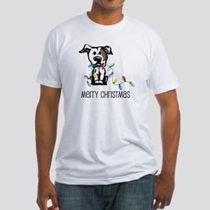 Pit Bull Christmas Lights Fitted T-Shirt