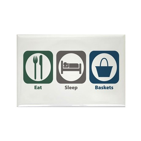 Eat Sleep Baskets Rectangle Magnet (100 pack)
