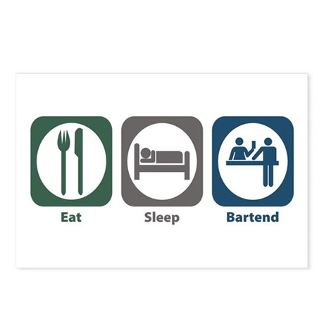 Eat Sleep Bartend Postcards (Package of 8)