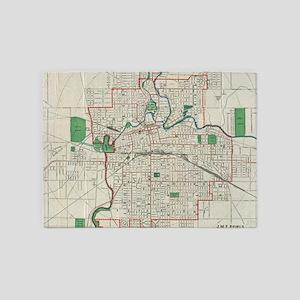 Vintage Map of Fort Wayne Indiana ( 5'x7'Area Rug