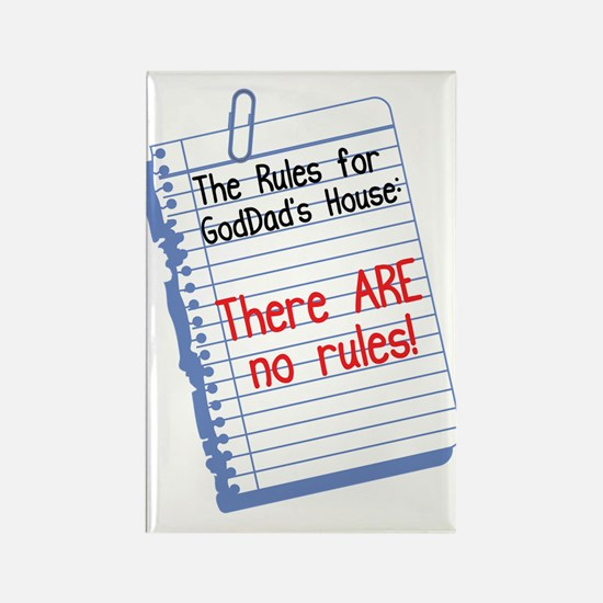 No Rules at GodDad's House Rectangle Magnet (10 pa