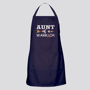 Aunt Of A Warrior Autism Awareness Apron (dark)