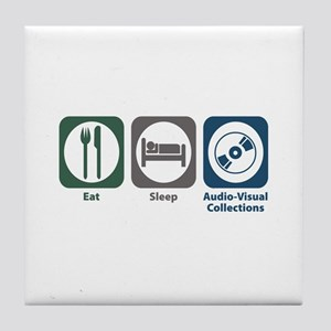 Eat Sleep Audio-Visual Collections Tile Coaster