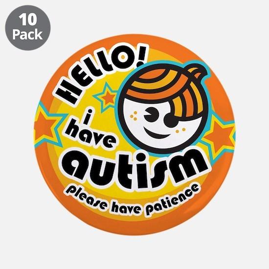 "Hello-Autism (Boy1) 3.5"" Button (10 pack)"