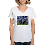 Starry / Schipperke Pair Women's V-Neck T-Shirt