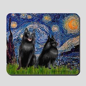 Starry / Schipperke Pair Mousepad