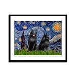 Starry / Schipperke Pair Framed Panel Print