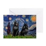 Starry / Schipperke Pair Greeting Cards (Pk of 10)