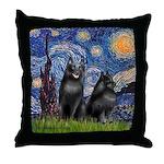 Starry / Schipperke Pair Throw Pillow