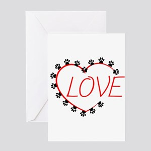 Dog Paws Red Heart Love Greeting Cards
