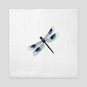 Blue Watercolor Dragonfly Queen Duvet