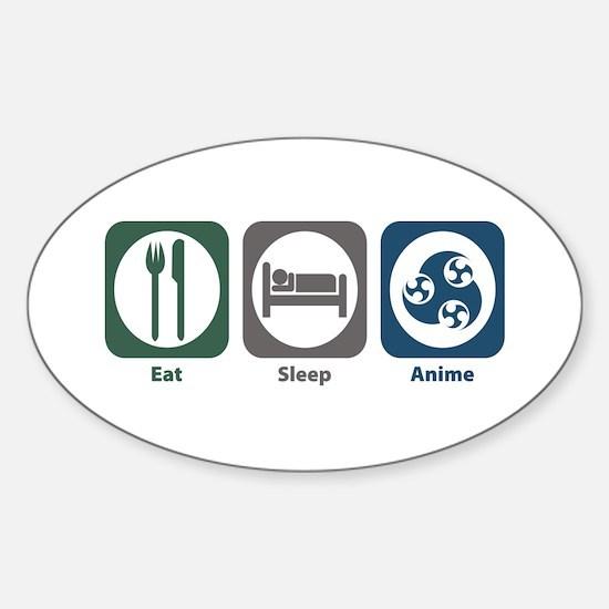 Eat Sleep Anime Oval Decal