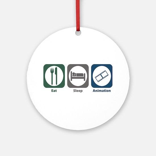 Eat Sleep Animation Ornament (Round)