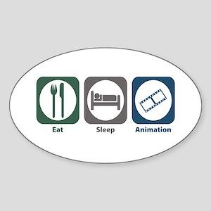 Eat Sleep Animation Oval Sticker