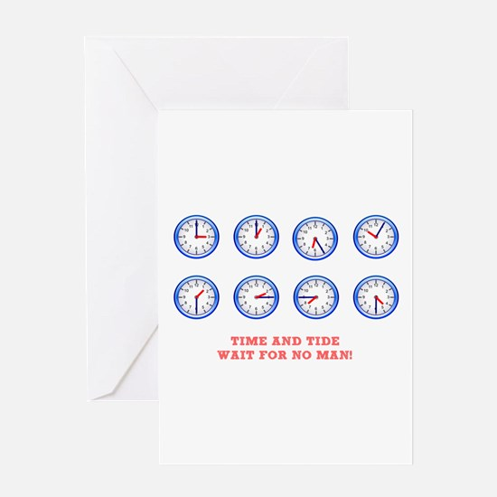 TIME AND TIDE - WAIT FOR NO MAN Greeting Cards