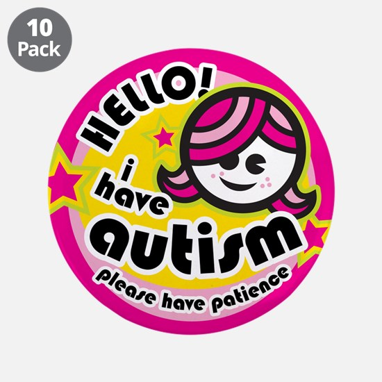 """Hello-Autism (Girl2) 3.5"""" Button (10 pack)"""