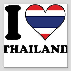 I Love Thailand Thai Flag Heart Square Car Magnet