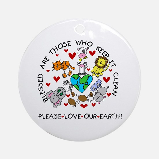 Earth Friendly Animals Ornament (Round)