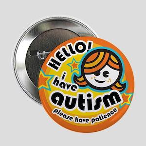 """Hello-Autism (Girl1) 2.25"""" Button"""