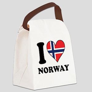 I Love Norway Norwegian Flag Heart Canvas Lunch Ba