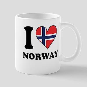 I Love Norway Norwegian Flag Heart Mugs