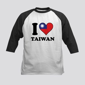 I Love Taiwan Taiwanese Flag Heart Baseball Jersey