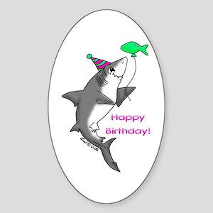 Birthday Shark Oval Sticker