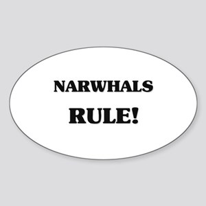 Narwhals Rule Oval Sticker