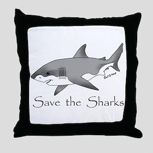 Save the Sharks Throw Pillow