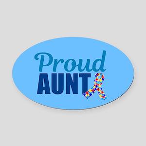 Autism Aunt Pride Oval Car Magnet