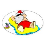 Sunbathing Santa Oval Sticker