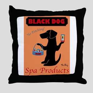 black dog spa Throw Pillow