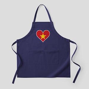 Vietnamese Flag Heart Apron (dark)