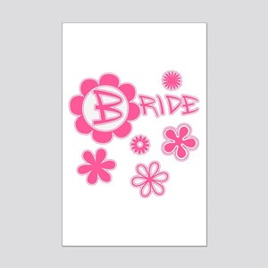 BRIDE with Pink Flowers Mini Poster Print